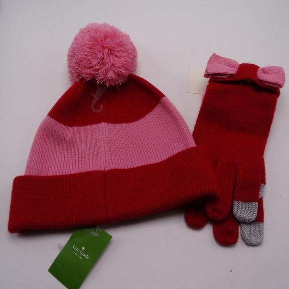 5e92ae5845b88b kate spade Accessories | Colorblock Bow Beanie Hat And Glove | Poshmark